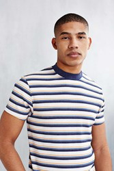 Cpo Stripe Ribbed Mock Neck Tee Ivory