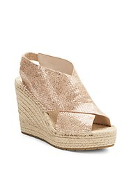 Kenneth Cole Ona Metallic Leather Espadrille Wedge Sandals Rose Gold