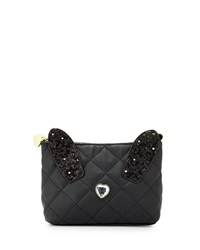 Betsey Johnson Disco Bunny Quilted Cosmetic Bag Black
