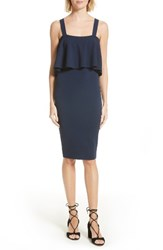 Milly Women's Stretch Knit Midi Dress Navy