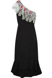 Peter Pilotto One Shoulder Crocheted Lace Paneled Stretch Cady Dress Black