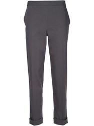 The Row Cuffed Straight Leg Trousers Grey