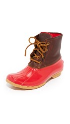 Sperry Saltwater Core Booties Tan Red