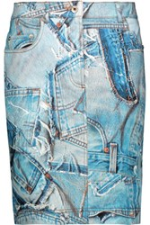 Moschino Patchwork Effect Printed Stretch Denim Skirt Light Denim