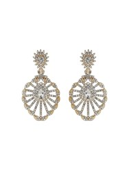 Mikey Filigree Design Spread Crystal Earring Gold