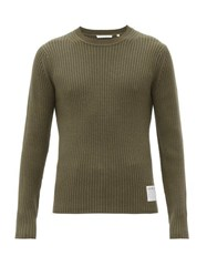 Helmut Lang Ribbed Knit Wool And Cotton Blend Sweater Khaki
