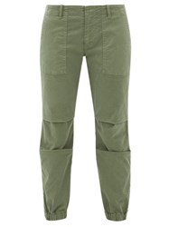 Nili Lotan Military Cropped Stretch Cotton Twill Trousers Khaki