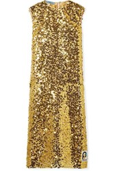 Prada Sequined Organza Midi Dress Gold