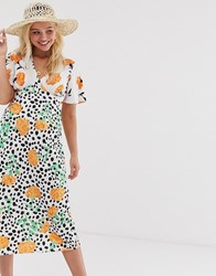 Influence Swing Dress In Mixed Floral Polka Print Multi