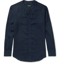 Giorgio Armani Slim Fit Grandad Collar Linen Shirt Navy