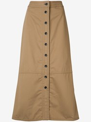 Yigal Azrouel Button Front Skirt Brown