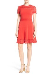 Michael Michael Kors Women's Mesh Combo Fit And Flare Dress