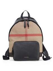Burberry Canvas London Checkered Backpack Black