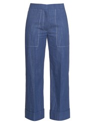 Sonia Rykiel Chambray Straight Leg Cropped Trousers