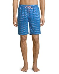 Peter Millar Skull And Fishing Rods Swim Trunks Blue