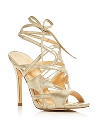 Ivanka Trump Hesther Metallic Ankle Tie High Heel Sandals Gold