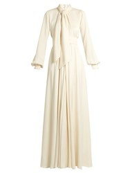 Lanvin Tie Neck Balloon Sleeved Cady Gown Ivory