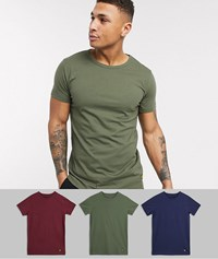 Lyle And Scott 3 Pack Lounge T Shirts In Navy Green Maroon Multi