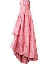 Oscar De La Renta Draped Strapless Gown Pink Purple