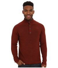Smartwool Pioneer Ridge Half Button Sweater Cinnamon Heather Men's Long Sleeve Pullover Red