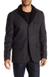 John Varvatos Faux Fur Trim Herringbone Jacket Gray