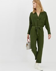Asos White Casual Wash V Neck Jumpsuit Green