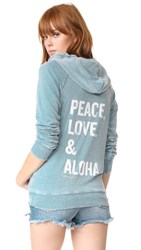 Spiritual Gangster Peace Love And Aloha Dharma Zip Hoodie Aqua