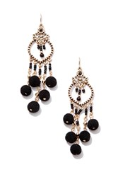 Forever 21 Beaded Chandelier Earrings Antique Gold Black