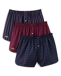 Lacoste Cotton Boxers Pack Of 3 Red Plum Stripe Potent Purple