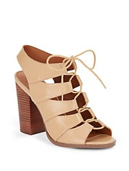 Saks Fifth Avenue Leather Lace Up Chunky Heel Sandals Dark Beige