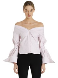 Jacquemus Off The Shoulder Cotton And Linen Shirt