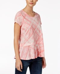 Style And Co Petite Cotton Plaid Peplum Top Only At Macy's Plaid Cream Blush