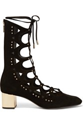 Schutz Studded Lace Up Suede Sandals Black