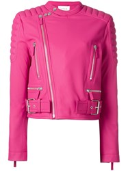 Cedric Charlier Padded Shoulder Biker Jacket Pink Purple