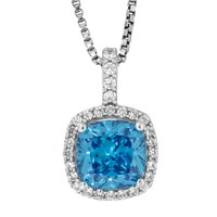 Jools By Jenny Brown Sterling Silver Cubic Zirconia Square Cushion Pendant Blue