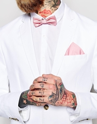 Asos Bow Tie And Pocket Square Palepink