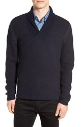 Boss Men's 'Berno' Shawl Collar Wool Pullover Navy