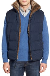 Andrew Marc New York Water Resistant Down Vest With Genuine Rabbit Fur Lining Ink Blue