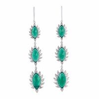 Meghna Jewels Triple Drop Claw Earrings Green Chalcedony And Diamonds