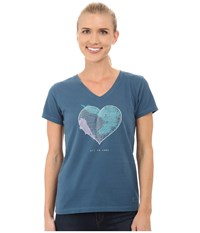 Life Is Good Crusher Vee Engraved All Heart Pacific Blue Women's T Shirt