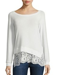 Red Haute Lace Hem Sweater Winter White Black