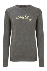 Sugarhill Boutique Nita Smile Embroidered Sweater Grey