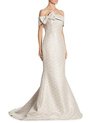 Teri Jon Bow Gown Platinum Off The Shoulder Gown White