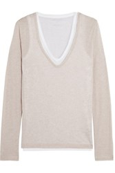 Majestic Layered Marl Cotton And Cashmere Blend Jersey Top Beige