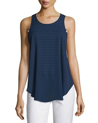 Casual Couture Striped Layered Tank Navy White