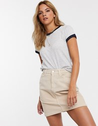 Brave Soul Claudia T Shirt With Contrast Rib Multi