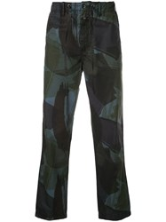 Closed Brush Stroke Printed Trousers Black