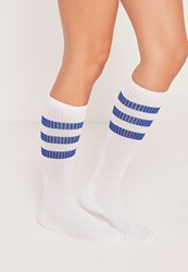 Missguided Three Stripe Sports Socks Blue White