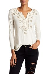 Lucky Brand Embellished Bib Blouse White