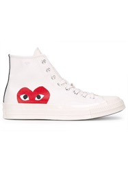 Comme Des Garcons Play Comme Des Garcon Play X Converse 'Chuck Taylor All Star' Hi Top Sneakers Nude And Neutrals